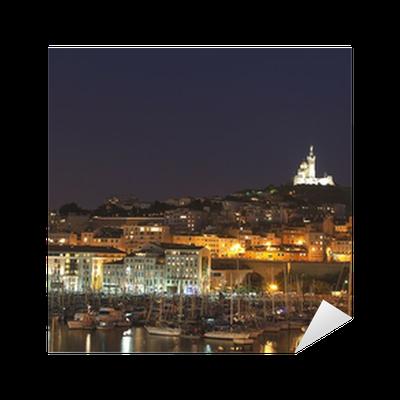 Marseille notre dame de la garde et le vieux port by night sticker pixers we live to change - Pharmacie de garde marseille vieux port ...