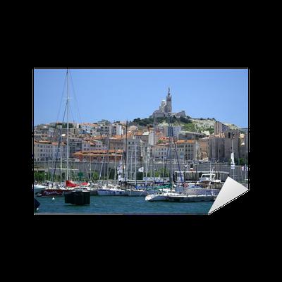Sticker marseille notre dame de la garde sur le vieux port pixers nous vivons pour changer - Pharmacie de garde marseille vieux port ...