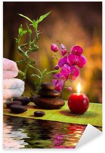 Sticker Pixerstick Massage - bambou - orchidée, serviettes, bougies, pierres à la verticale
