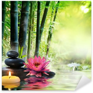 Sticker Pixerstick Massage dans la nature - lis, pierres, bambou - notion zen