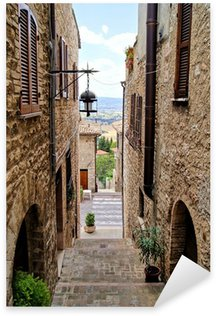 Sticker - Pixerstick Medieval stepped street in the Italian hill town of Assisi