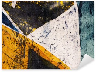 Pixerstick Sticker Meetkunde, heet batik, achtergrond textuur, met de hand gemaakt op zijde, abstracte surrealismekunst