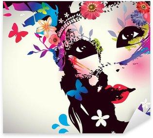 Pixerstick Sticker Meisje met masker / Vector illustratie
