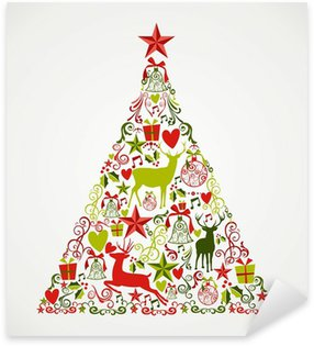 Pixerstick for All Surfaces Merry Christmas tree shape full of elements composition EPS10 fi