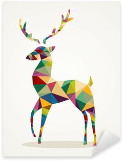 Sticker - Pixerstick Merry Christmas trendy abstract reindeer EPS10 file.