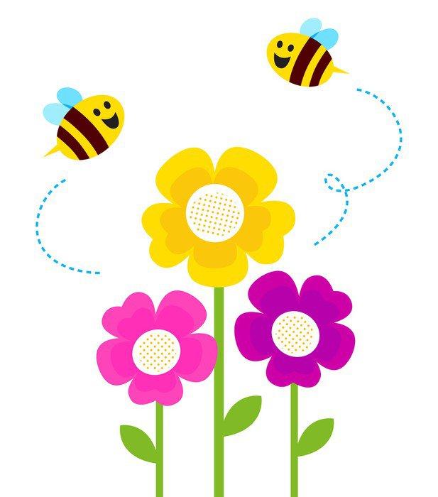 Sticker Pixerstick Mignon abeilles qui volent autour des fleurs de  printemps isolé sur blanc , Merveilles