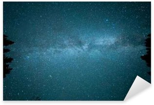 Milky way in the forest among trees Sticker - Pixerstick