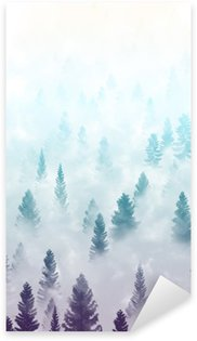 Sticker - Pixerstick misty forest landscape