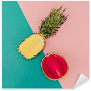Sticker Pixerstick Mix Tropical. Ananas et de la pastèque. minimal style