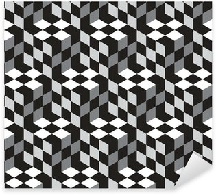 Sticker Pixerstick Modèle noir et blanc Cubes optique illustion vectorielle Seamless
