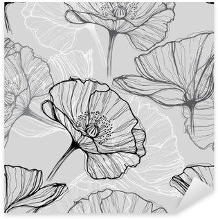 Sticker Pixerstick Monochrome seamless coquelicots. Hand-drawn floral background