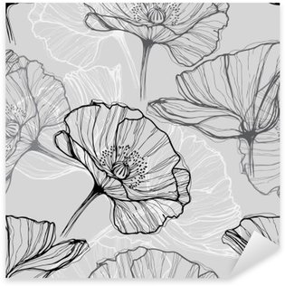 Sticker - Pixerstick Monochrome seamless pattern with poppies. Hand-drawn floral background
