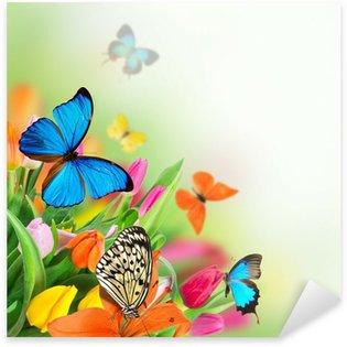 Pixerstick Sticker Mooi boeket van tulpen
