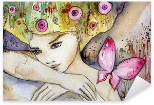 Pixerstick Sticker Mooi meisje met vlinder