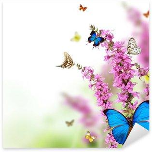 Pixerstick Sticker Mooie bloem achtergrond met exotische vlinders