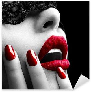 Pixerstick Sticker Mooie Vrouw met zwart kant masker over haar ogen
