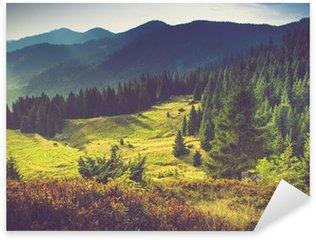 Pixerstick Sticker Mooie zomer berglandschap op zon.