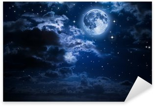Sticker - Pixerstick moon and clouds in the night