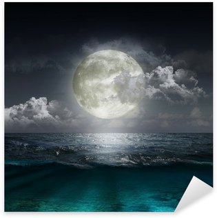 Sticker - Pixerstick moon reflecting in a lake