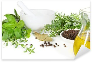 Sticker - Pixerstick Mortar and pestle with fresh herbs and spices.
