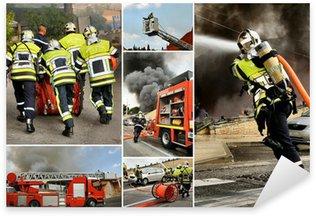 Sticker Pixerstick Mosaïque pompiers