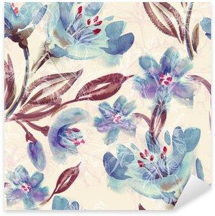 Sticker Pixerstick Motif Aquarelle Bleu Fleurs Seamless