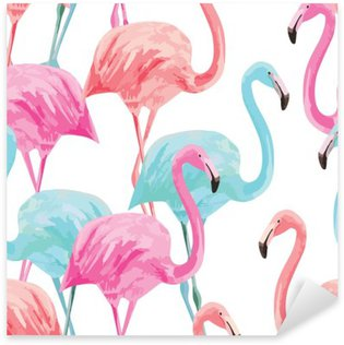 Sticker Pixerstick Motif aquarelle flamingo