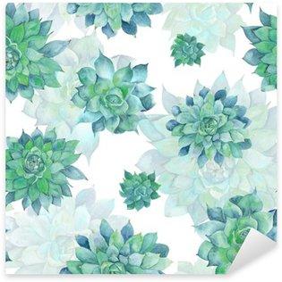 Sticker Pixerstick Motif Aquarelle Turquoise Succulent