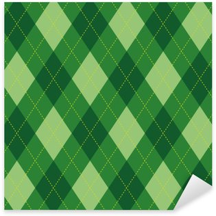 Sticker Pixerstick Motif Argyle losange vert seamless texture, illustration