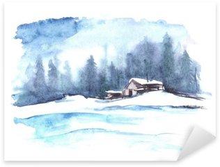 Sticker Pixerstick Motif d'hiver Aquarelle. Paysage de campagne. La photo montre une maison, l'épinette, le pin, la forêt, la neige et les dérives.