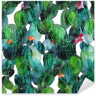 Sticker Pixerstick Motif de Cactus dans le style d'aquarelle