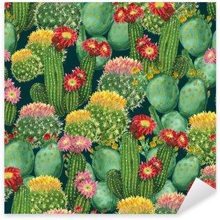 Sticker Pixerstick Motif de cactus en fleurs