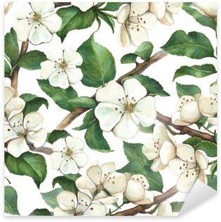 Sticker Pixerstick Motif de fleurs aquarelle de pommes