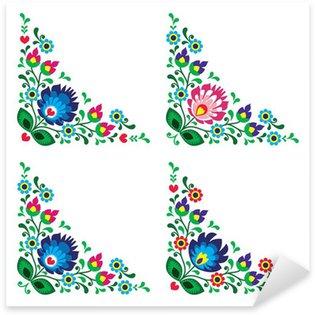 Sticker Pixerstick Motif floral folklorique polonais coin de frontière, Lowickie Wzory