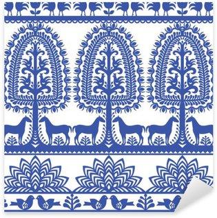 Sticker Pixerstick Motif floral pattern d'art populaire polonais Wycinanki Kurpiowskie - Kurpie Papercuts