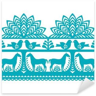 Sticker Pixerstick Motif polonais Seamless art populaire Wycinanki Kurpiowskie - Kurpie Papercuts