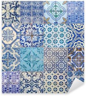 Sticker Pixerstick Motifs azujelo bleu