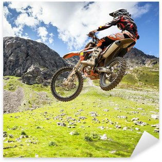 Sticker Pixerstick Motocross en plein air
