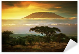 Sticker - Pixerstick Mount Kilimanjaro. Savanna in Amboseli, Kenya