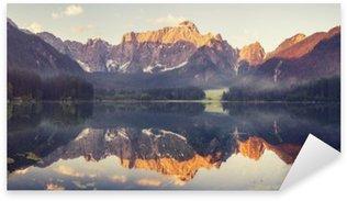 Sticker - Pixerstick mountain lake in the Ita lian Alps,retro colors, vintage
