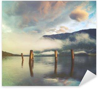 Sticker - Pixerstick mountain lake in the Italian Alps,retro colors, vintage