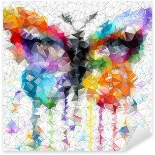 Pixerstick Sticker Multicolor heldere vlinder abstracte geometrische achtergrond