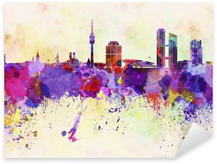 Sticker - Pixerstick Munich skyline in watercolor background