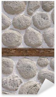 Sticker Pixerstick Mur de pierre avec des bois agrandi faisceau