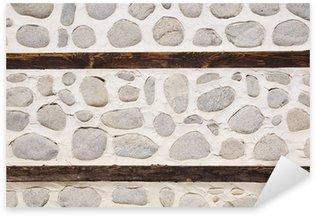 Sticker Pixerstick Mur de pierre avec deux poutres en bois
