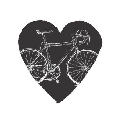 Sticker Mural Bicycle Vintage in Heart.