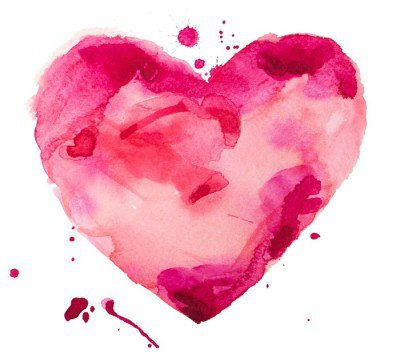 Sticker Mural Coeur d'aquarelle. Concept - l'amour, les relations, l'art, la peinture