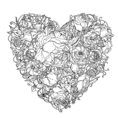Sticker mural dessin main l ment zentangle noir et blanc mandala flower pixers nous - Stickers muraux noir et blanc ...