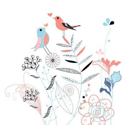 Sticker Mural Oiseaux amoureux