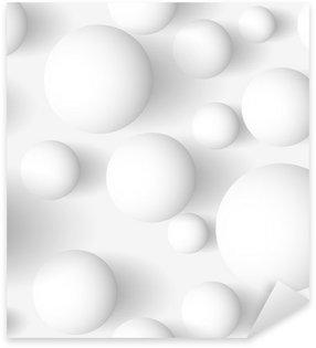 Pixerstick Sticker Naadloos abstract 3D witte sferisch achtergrond